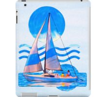 Sail Away With Me - Graphical Sailboat On Blue iPad Case/Skin
