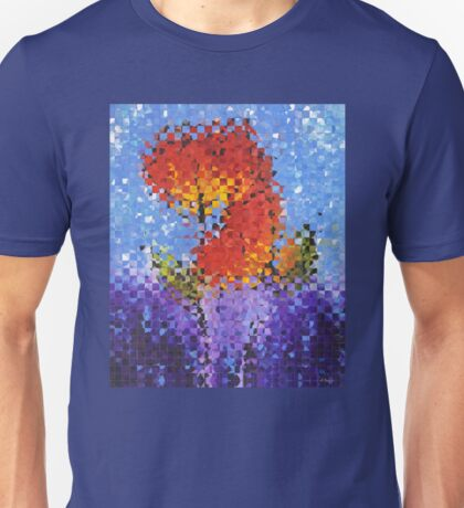 Abstract Red Flowers - Pieces 5 - Sharon Cummings Unisex T-Shirt