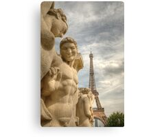 Eiffel Tower Statues Canvas Print