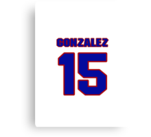 National baseball player Denny Gonzalez jersey 15 Canvas Print