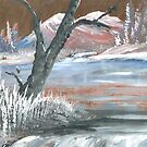 frozen lake by francelle  huffman