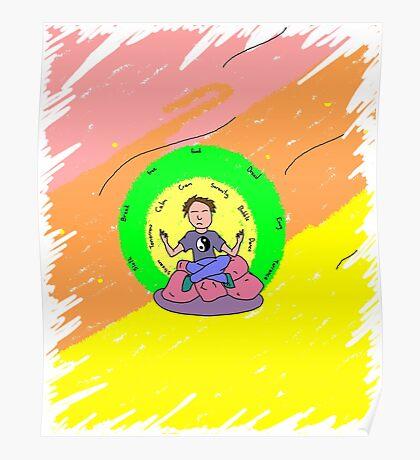 Meditator blending background - no fish. Poster
