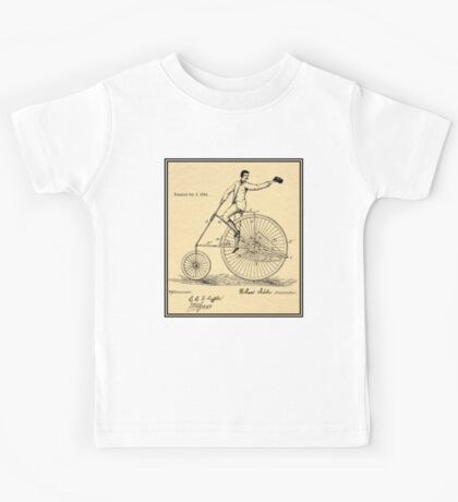 VELOCIPEDE PATENT; Vintage Bicycle Print Kids Tee
