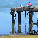Jetty  ~  Reflection ~ Lonely fisherman by Pieta Pieterse