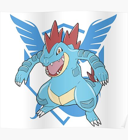 Feraligatr With Blue Logo Poster