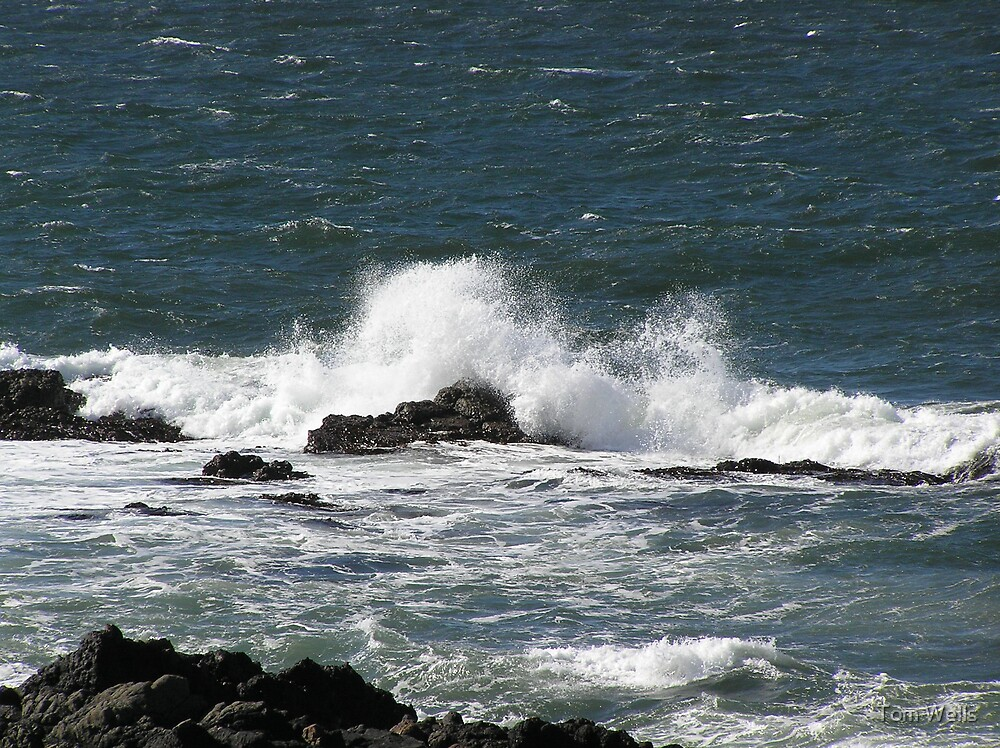 Waves Crashing Over Rocks by Tom Wells