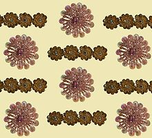 Pink and Gold Bead and Sequin Flowers (II) - Vintage Bling by MHen