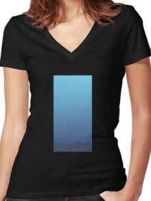 Glitch Homes Wallpaper Sea wall single Women's Fitted V-Neck T-Shirt