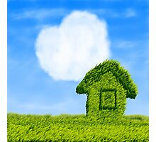 Eco house and cloud heart Photographic Print