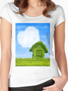 Eco house and cloud heart Women's Fitted Scoop T-Shirt