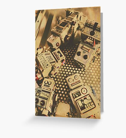 Vintage robot charging zone Greeting Card