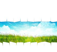 Grass background with ripped paper by AnnArtshock