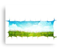Grass background with ripped paper Canvas Print