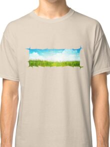 Grass background with ripped paper Classic T-Shirt