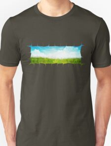 Grass background with ripped paper T-Shirt