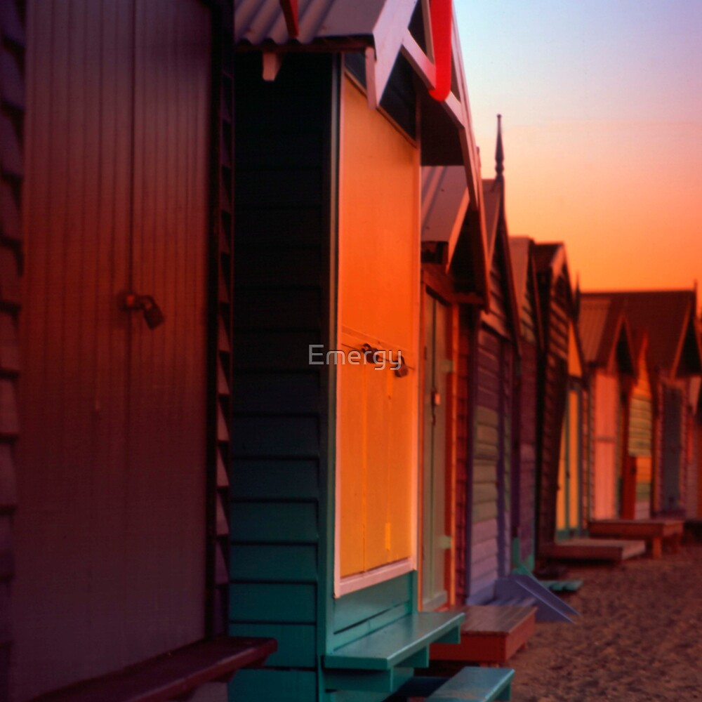 Sunset at Brighton Bay Beach Boxes by Emergy