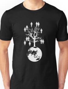 Family Tree - We are one family. (White on Black) T-Shirt