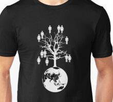 Family Tree - We are one family. (White on Black) Unisex T-Shirt