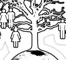 Family Tree - We are one family. (White on Black) Sticker