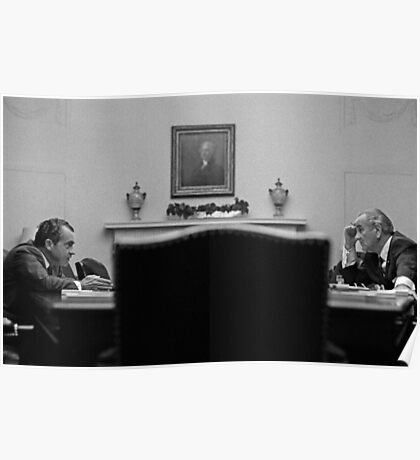 Johnson and Nixon at the White House Poster