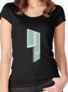 Glitch Homes Wallpaper tealgreen molding left divide Women's Fitted Scoop T-Shirt