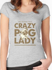 Crazy Pug Lady T Shirt and Items - Funny Women's Pug Shirt Women's Fitted Scoop T-Shirt
