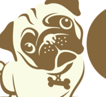 Crazy Pug Lady T Shirt and Items - Funny Women's Pug Shirt Sticker