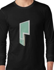 Glitch Homes Wallpaper tealgreen molding right divide Long Sleeve T-Shirt