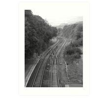 train tracks B&W Art Print