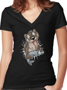 STUCK Otter (white cracks) Women's Fitted V-Neck T-Shirt