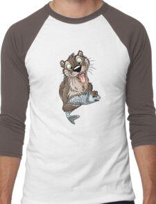 STUCK Otter (white cracks) Men's Baseball ¾ T-Shirt