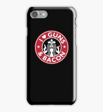 I Love GUNS AND BACON Shirt Funny Gun T-Shirt iPhone Case/Skin