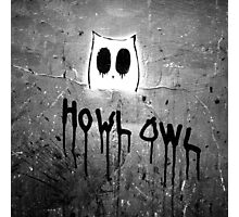 Howl Owl black and white graffiti Photographic Print