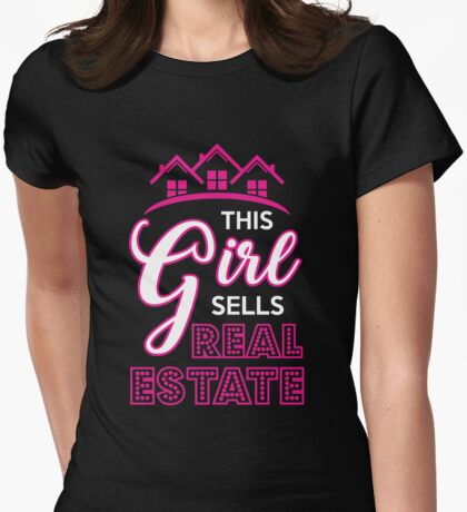 This Girl Sells Real Estate T-Shirt, Funny Realtor Tee Womens Fitted T-Shirt