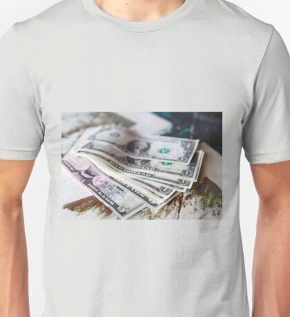 Money - USD one dollar bills on vintage table Unisex T-Shirt