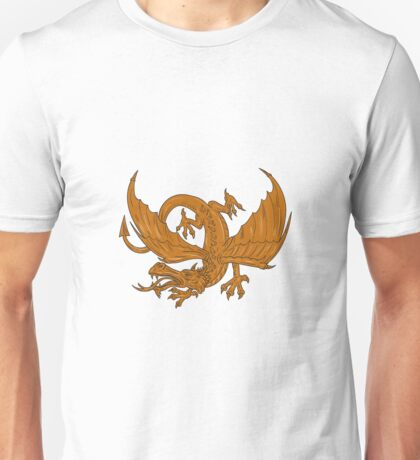 Aggressive Dragon Crouching Drawing Unisex T-Shirt
