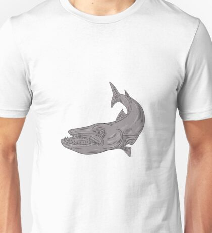 Barracuda Swimming Down Drawing Unisex T-Shirt