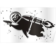 Outer space sloth rocket ray gun Poster