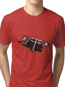 Outer space sloth rocket ray gun Tri-blend T-Shirt