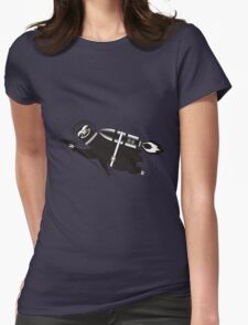Outer space sloth rocket ray gun Womens Fitted T-Shirt