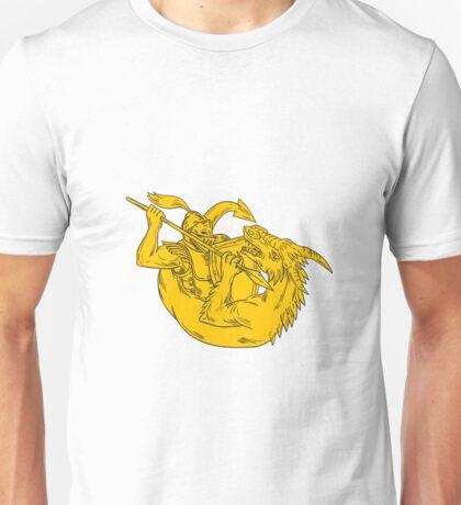 Knight Fighting Dragon Spear Drawing Unisex T-Shirt
