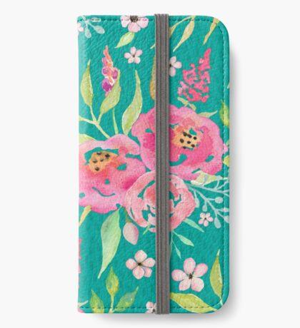 Fresh Blooms - Mint & Pink iPhone Wallet/Case/Skin