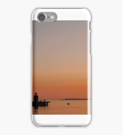 Lighthouse at sunset iPhone Case/Skin