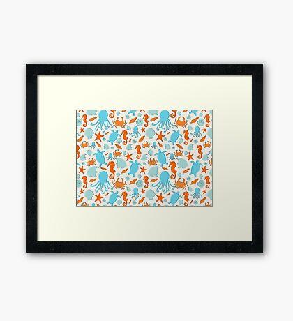 Sea Creatures Repeat Pattern-Landscape Framed Print