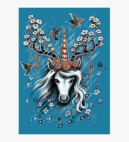 Deer Unicorn Flowers Photographic Print
