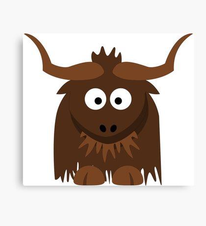Funny Cute Cartoon Buffalo Character Animal - T Shirts And Gifts Design Canvas Print