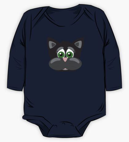 Cool Funny Cartoon Cat - Silly Black Kitten With Green Eyes T Shirts And Gifts One Piece - Long Sleeve
