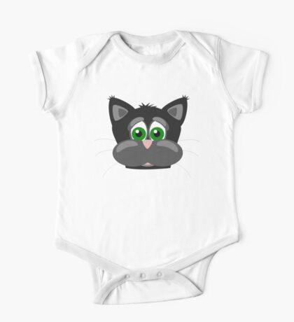 Cool Funny Cartoon Cat - Silly Black Kitten With Green Eyes T Shirts And Gifts One Piece - Short Sleeve
