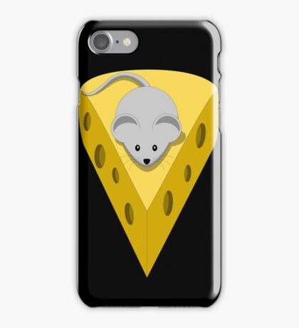 Cute Funny Little Gray Cartoon Mouse On The Top Of The Yellow Cheese  iPhone Case/Skin