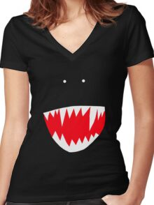 Spidey face Women's Fitted V-Neck T-Shirt